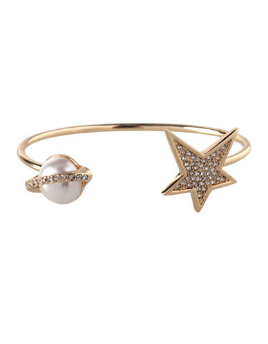 Bcbgeneration 12K Yellow Gold Crystal Planet & Star Cuff Bracelet-GOLD-One Size