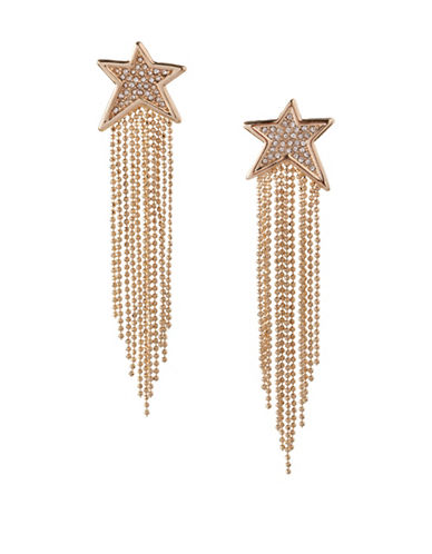 Bcbgeneration 12K Yellow Gold Star Multi-Chain Drop Earrings-WHITE-One Size