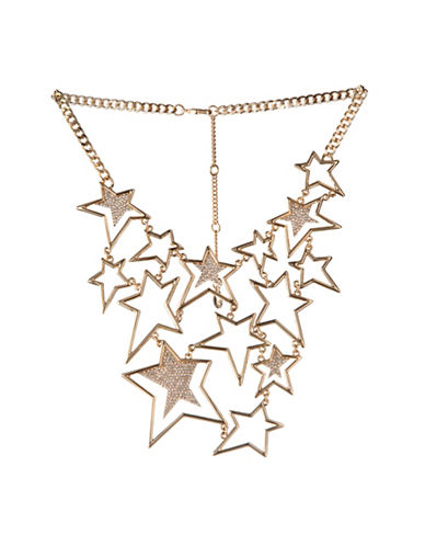 Bcbgeneration 12K Yellow Gold Multi-Star Bib Necklace-WHITE-One Size