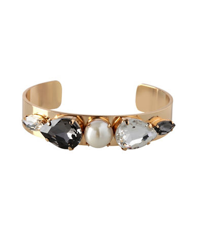 Bcbgeneration Faux Pearl and Crystal Cuff Bangle-ASSORTED-One Size