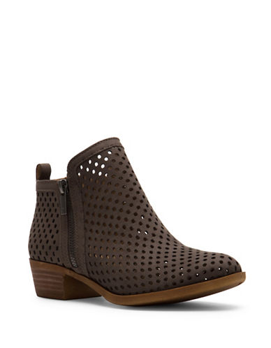Lucky Brand Basel3 Nubuck Cut-Out Ankle Boots-GREY-8.5