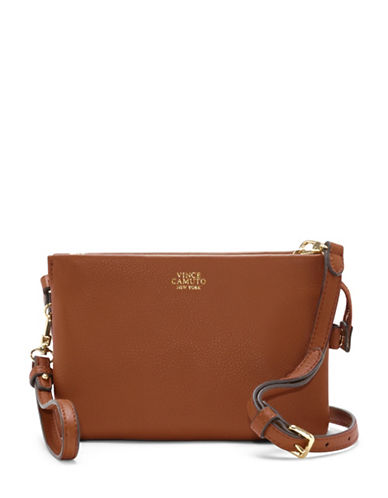 Vince Camuto Cami Leather Crossbody-BROWN-One Size