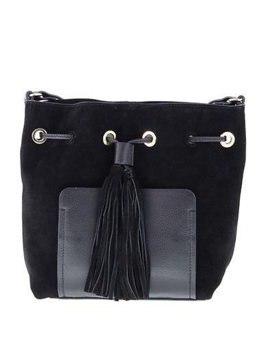 Vince Camuto Leather Tassle Crossbody Bag-BLACK-One Size