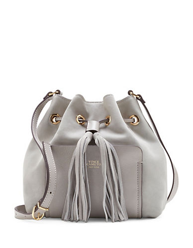 Vince Camuto Leather Tassle Crossbody Bag-GREY-One Size