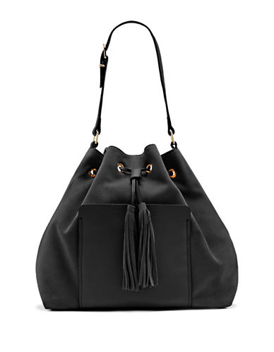 Vince Camuto Elsie Suede and Leather Drawstring Bag-BLACK-One Size