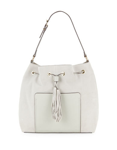 Vince Camuto Elsie Suede and Leather Drawstring Bag-GREY-One Size