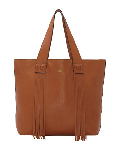 Vince Camuto Valri Pebble Grain Leather Fringe Tote-BROWN-One Size