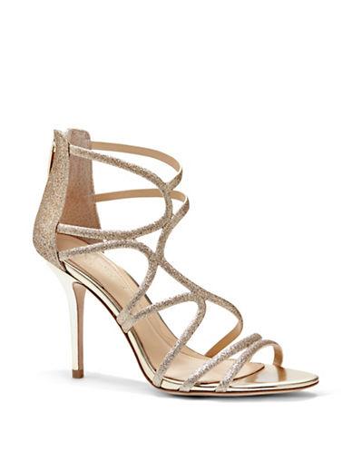 Vince Camuto Ranee Satin Stiletto Sandals-GOLD-9.5