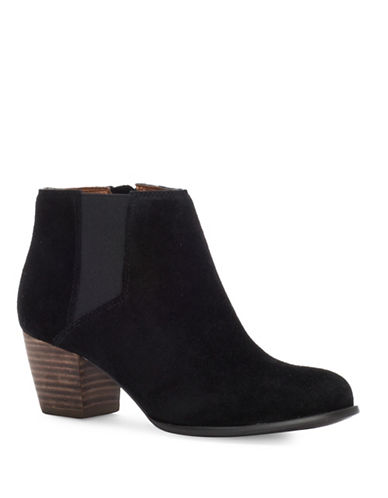 Lucky Brand Tulayne Suede Booties-BLACK-9.5