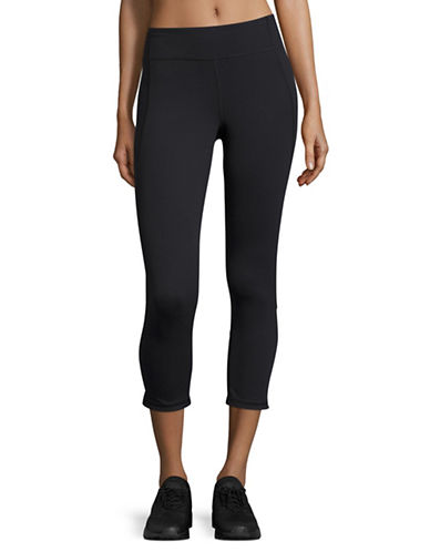 Under Armour HeatGear Mirror Crop Leggings-BLACK/SILVER-Medium
