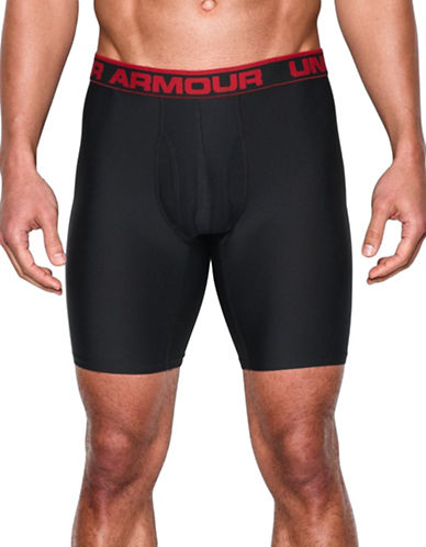 Under Armour Original Series Nine-Inch Inseam Boxerjock Boxers-BLACK/RED-Medium