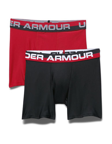 Under Armour Two-Pack Boxerjock Set-RED/BLACK-Small