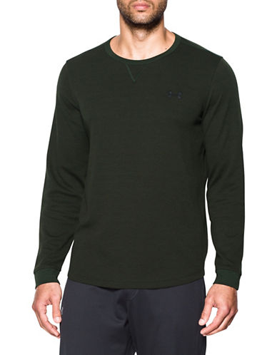 Under Armour Waffle Crewneck Sweatshirt-GREEN-X-Large 89622023_GREEN_X-Large