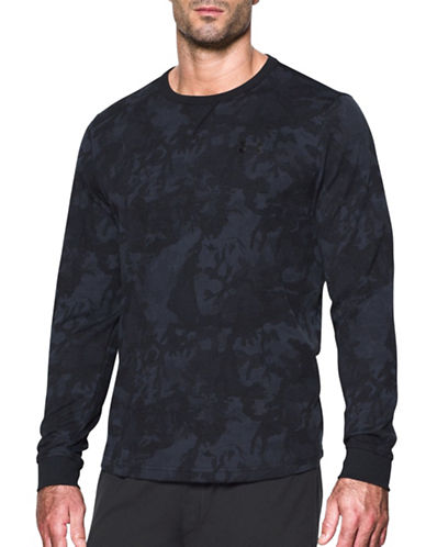 Under Armour UA Waffle Printed Crew Sweatshirt-BLACK-Medium 88885590_BLACK_Medium