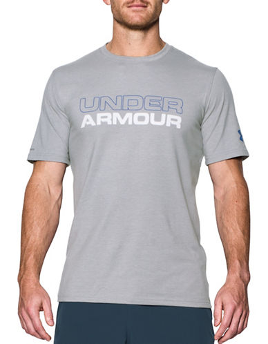 Under Armour Wordmark Stack Tee-GREY-X-Large
