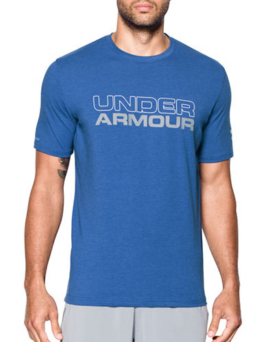 Under Armour Wordmark Stack Tee-BLUE-X-Large
