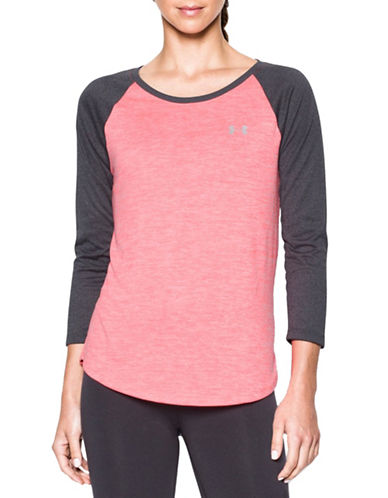 Under Armour Three-Quarter Heathered Twist Top-PINK-Large 88511636_PINK_Large