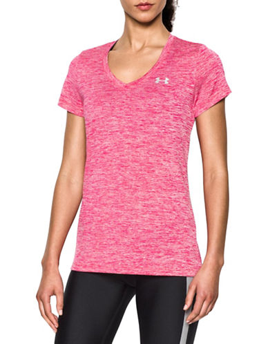 Under Armour Twist V-Neck T-Shirt-PINK-X-Small 88675622_PINK_X-Small