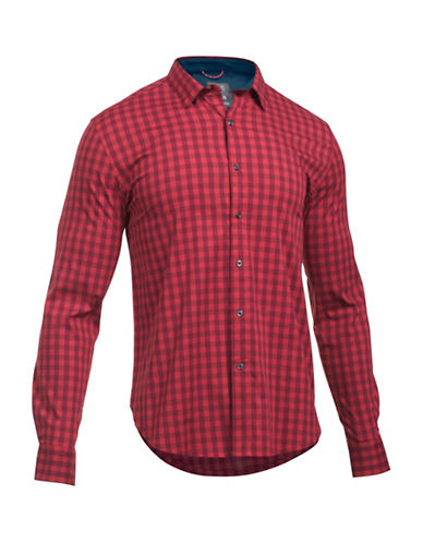 Under Armour Performance Woven Check Shirt-RED-Medium 88641824_RED_Medium