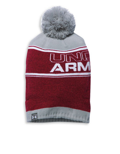 Under Armour Retro Pom Beanie-RED-One Size