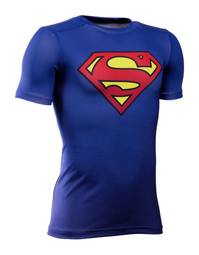 Under Armour DC Comics Base Layer Tee-BLUE-10-12