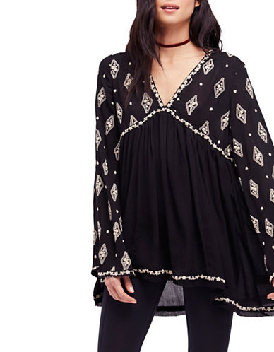 Free People Diamond Embroidered Top-BLACK-Medium