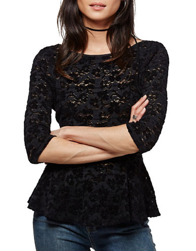 Free People Chenille Lace Peplum Top-BLACK-X-Small 88771736_BLACK_X-Small