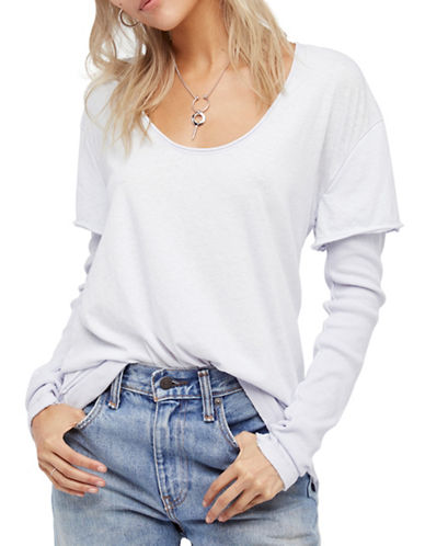 Free People Magic Scoopneck Tee-BLUE-Medium