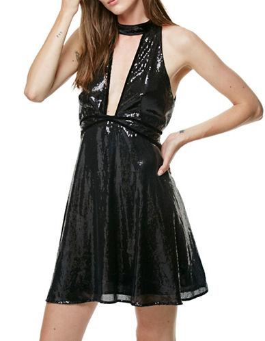 Free People Film Noir Sequin Mini Dress-BLACK-2