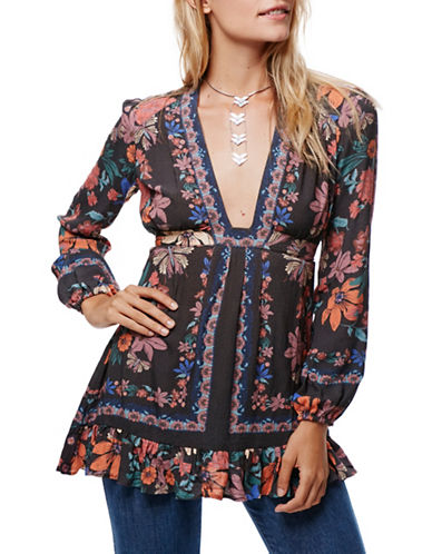 Free People Violet Hill Printed Tunic-BLACK-4