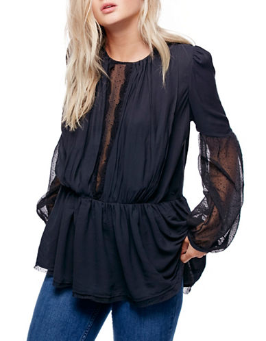 Free People Soul Serene Peasant Top-BLACK-Large