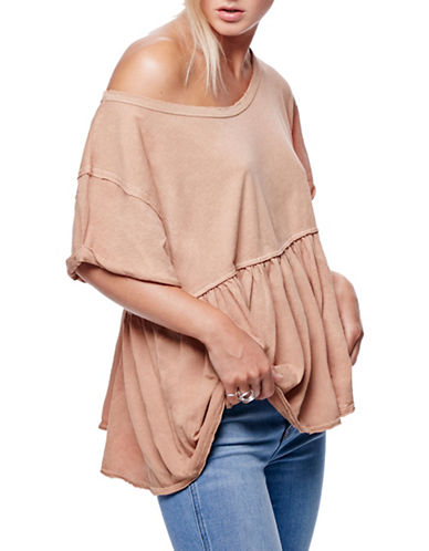 Free People Odyssey Boxy Tee-MAUVE-Small