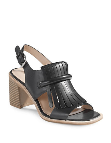 G.H. Bass Kilted Heeled Sandals-BLACK-7
