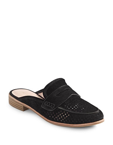 G.H. Bass Erin Casual Suede Loafer Mules-BLACK-8.5