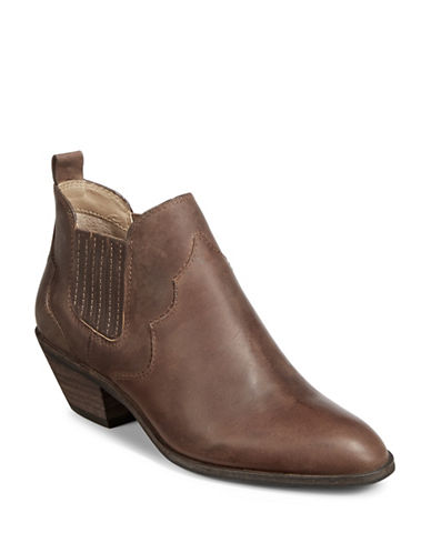 G.H. Bass Western Leather Booties-TAN-7.5