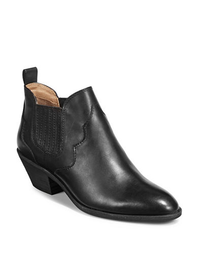 G.H. Bass Western Leather Booties-BLACK-8.5