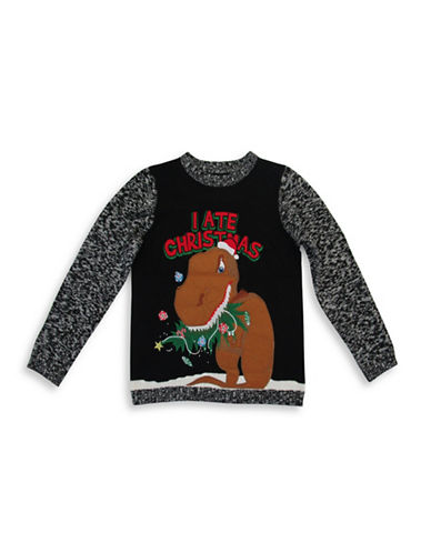 33 Degrees Dinosaur Ate Christmas Cotton Sweater-BLACK-Medium