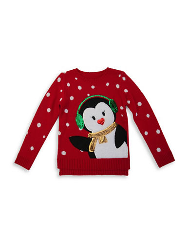 Forever And Ever Snowy Penguin Sweater-RED-X-Large