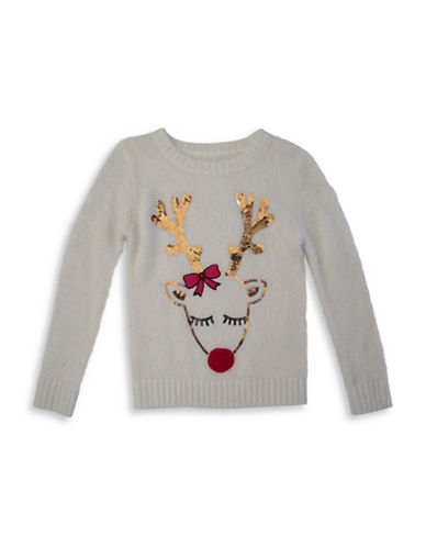 Forever And Ever Sleeping Reindeer Sweater-GREY-Small
