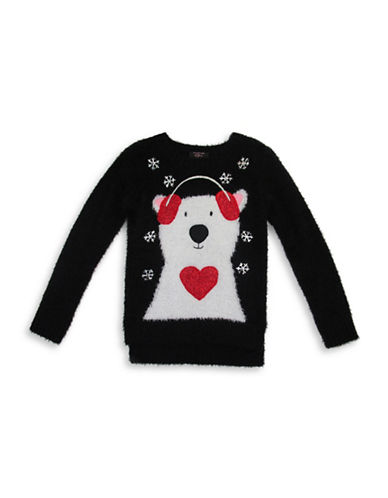 Forever And Ever Snowflakes Polar Bear Sweater-BLACK-Small