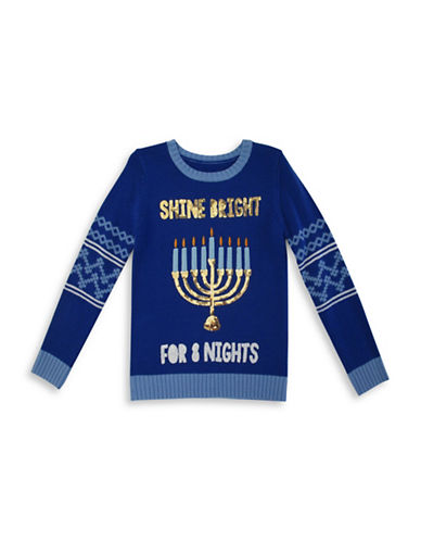 Forever And Ever Shine Bright For Eight Nights Sweater-BLUE-Large