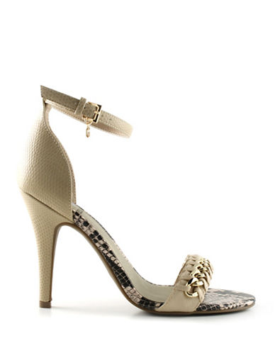 G By Guess Magni Curb Chain Heeled Sandals-NATURAL-10