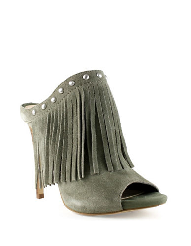 Guess Ara Leather Fringe Mules-OLIVE-6