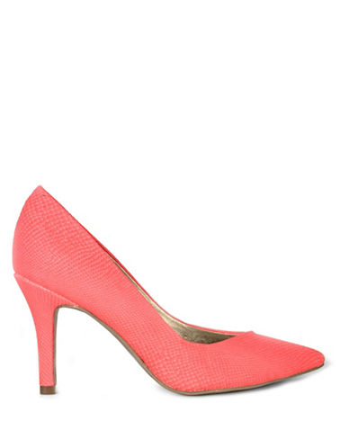G By Guess Kally Snake-Textured Pumps-CORAL-7.5