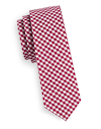 The Tie Bar Gingham Cotton Tie-RED-One Size