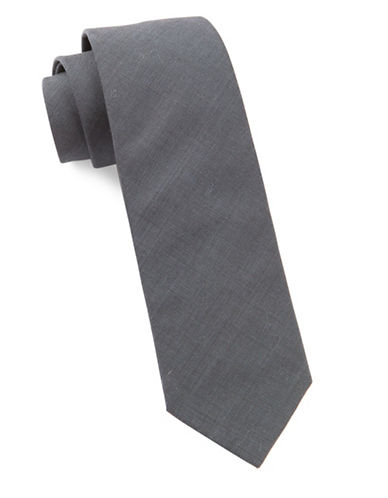 The Tie Bar Solid Cotton Tie-METAL GREY-One Size