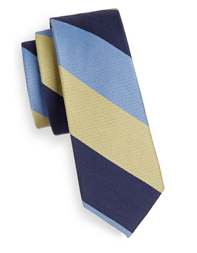 The Tie Bar Wool-Silk Striped Tie-YELLOW-One Size
