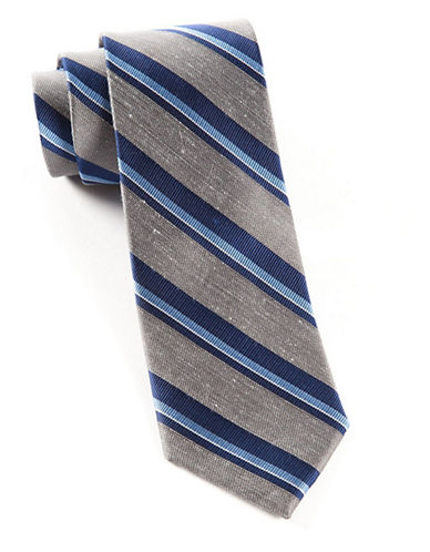 The Tie Bar Social Striped Tie-GREY-One Size