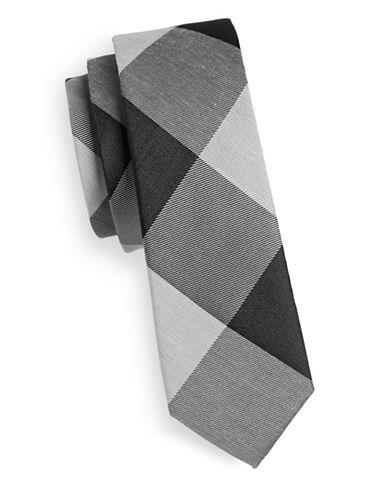 The Tie Bar Bison Plaid Silk Tie-BLACK-One Size