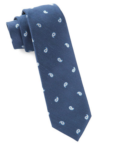 The Tie Bar Paisley Silk Tie-NAVY-One Size